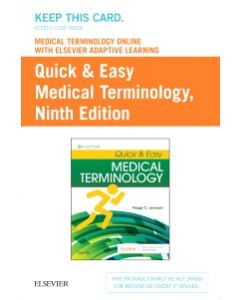Medical Terminology Online with Elsevier Adaptive Learning for Quick & Easy Medical Terminology (Access Card)